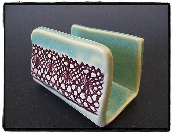 Purple Lace Decorarion Business Card Holder in True Green by misunrie