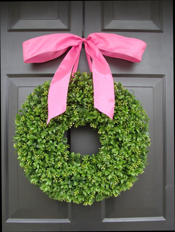 Boxwood Wreath- 16 inch Summer Wreath- Girl's Nursery Decor- Pretty in Pink- Girl Decor- Princess Decor- Princess Wreath