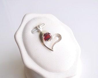 Garnet Heart Pendant Sterling Silver January Birthstone 6mm