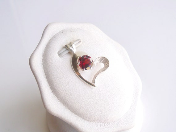 Garnet Heart Pendant Sterling Silver January Birthstone 6mm