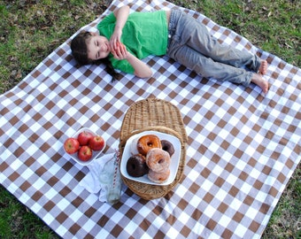 Camping Blanket- Picnic Blanket in Chocolate Brown Gingham- Eco Friendly, Summer, Outdoors