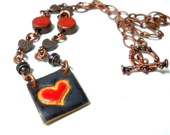 Red Heart Valentine Necklace, Copper, Crystal, Elaine Ray Ceramic Heart Charm, Romantic, Rustic Necklace, Holiday Jewelry