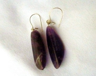 Tumbled Amethyst Purple Agate Earrings