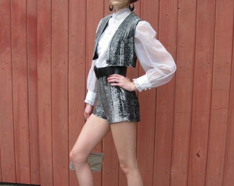1960s Metallic Black & Silver Shorts Suit - Step In Jumpsuit Hot Pants