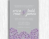 Printable Wedding Invitation - Floral Sunbursts