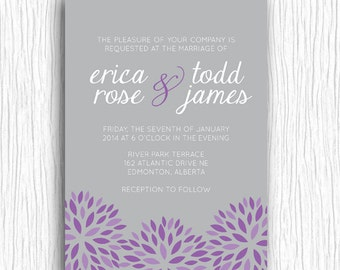 Printable Wedding Invitation - Floral Sunbursts