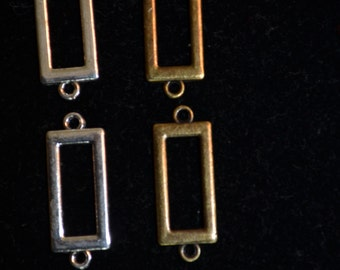Rectangle Antique Bronze and Silver Links - Quantity 12