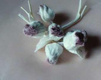 Ivory Lilac Velvet Millinery Nuts for Bridal, Boutonnieres, Headbands, Hats