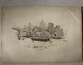 St. Paul's Wharf - 1884 Joseph Pennell - Original Etching/Engraving