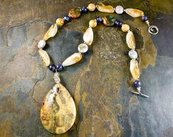Handcrafted Citrine, Sapphire, Jasper, Fossil Coral, Agate, Garnet, and Sterling Silver Necklace (N095)