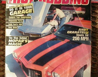 Popular Hot Rodding, March 1987, vintage car magazine, old cars, man cave garage, hot rods, race cars