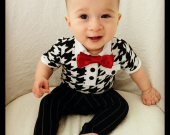 Boys 1st Birthday Outfit Houndstooth Onesie Pinstripe Pants, First Birthday Boy, Baby Boy Birthday Outfit, Boy First Birthday Outfit