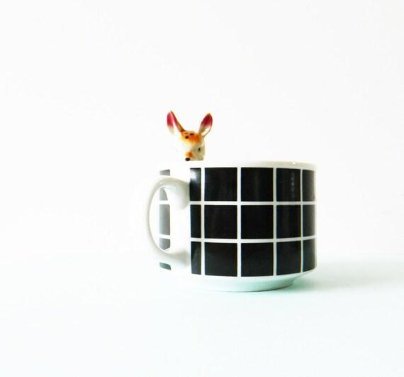 Vintage Grid Pattern Mug / Large Vintage Soup Mug / Geometric Grid Coffee Cup /