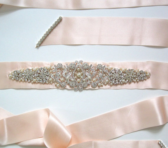 Extra long Lovely and Modified rhinestone and pearl bridal sash belt in blush pink bride wedding