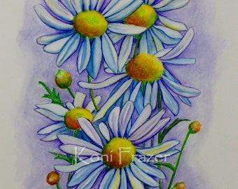 Watercolor painting of daisies, original painting, flower wall decor