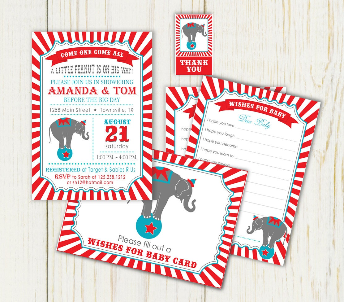 circus baby shower invitation well wishes cards thank you