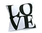 LOVE Pillow Cover in Black on White Handmade Appliqued Eco-Felt Throw Pillow Cover  - 18 inches