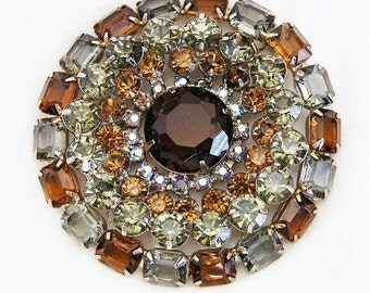 Huge! Amber and Smoke Gray Rhinestone Brooch Pin