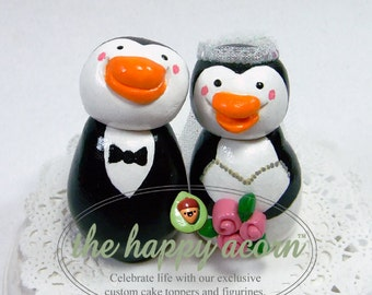 Penguin Wedding Cake Topper Penguins - READY TO SHIP - by The Happy Acorn