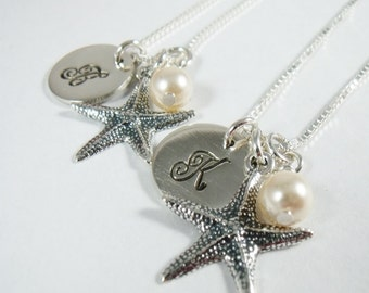 Bridesmaid Necklace - Set of 3 - Personalized Starfish Necklace - Beach Jewelry - Wedding - Bridesmaid Gift -  Sterling Silver Jewelry