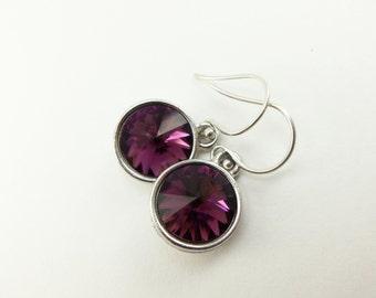 Amethyst Birthstone Earrings Sterling Silver Drop Earrings Amethyst Earrings February Birthstone Crystal Dangle