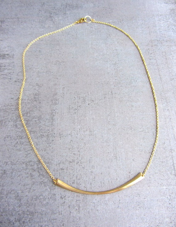 Gold stick bar simple choker necklace, 14K gold filled chain