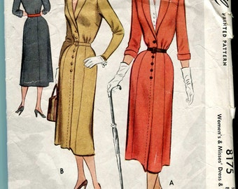 McCall 8175 Vintage 1950 Dress and Dickie pattern - 38 bust