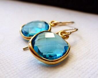 Swiss Blue Quartz Bezel Set Earrings - 14K Goldfilled......LIMITED EDITION
