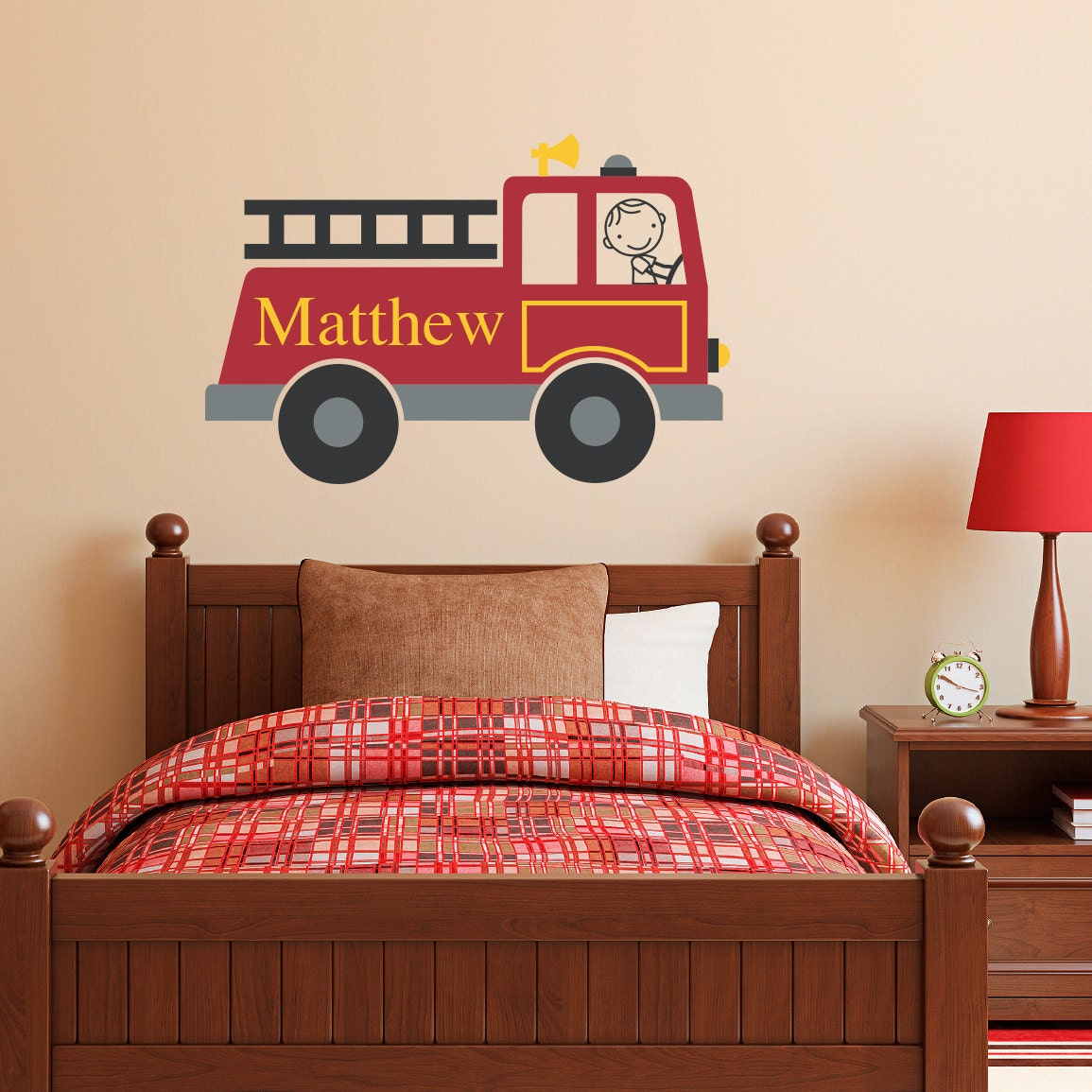 Firetruck Wall Decal Personalized Boy Amp Name Wall Decal