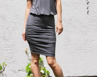 V Neck Ruched Dress with short sleeve, Loose Top Ruched Dress, Gray Jersey Dress, Sexy Dress, Party Dress, Blouson Dress - Gray Modal