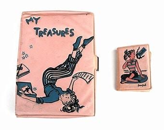 "1960's Treasure Box Gift Set Retro Mid Century ""My Treasures"" and ""Photos"" Album Vintage Pastel Pink and Powder Blue Sockhop Date Party Line"