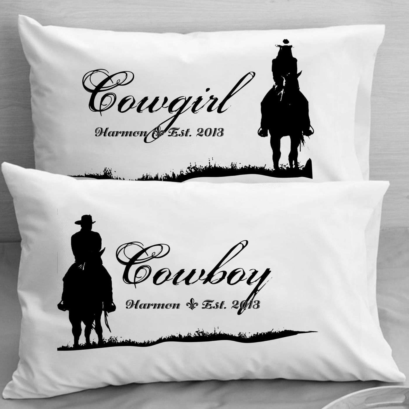 Personalized Cowboy Cowgirl Pillow Cases Pillowcases Wife