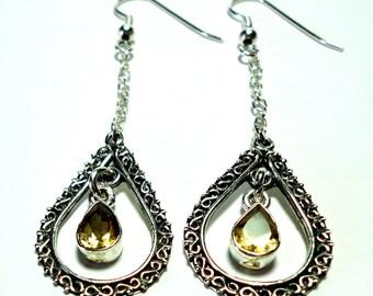 Citrine Earrings Golden Citrine Gemstones in Long Dangle Drop Hoop Earrings in Solid Sterling Silver