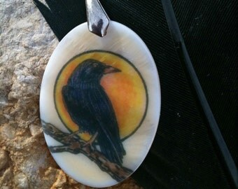 Crow Totem Animal Mother of Pearl Amulet by Mickie Mueller