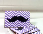 Mustache on Purple and White Chevron- Blank Cards Thank You Cards Mini Cards ( Set of 4)