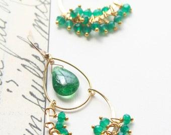 Emerald Earrings, May Birthstone, Chandelier Earrings