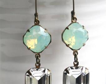 Mint Crystal Earrings, Swarovski Chrysolite Opal Cushion Cut, Emerald Cut Crystal Earrings