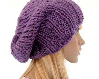 Purple Slouch Beanie Womens Knit Hat  Purple slouchy hat  gifts for her