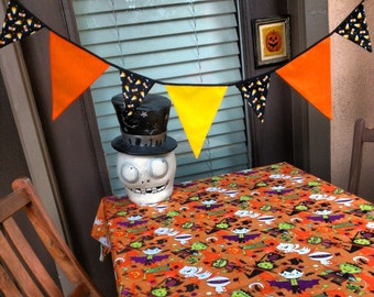 Not So Spooky Halloween Candy Fabric Banner Bunting Pennant Flags