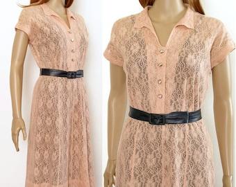 Vintage 1940s Dress Peachy Pink Lace Semi Sheer Shirtwaist Dress / Small