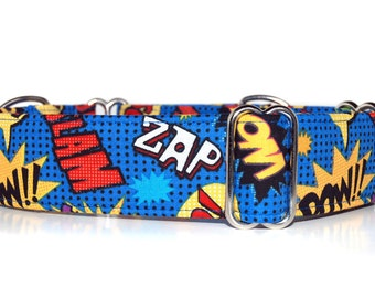 Martingale Dog Collar,,, My Hero,,Comic inspired Martingale Dog Collar in 1.5 inch or 2 inch width