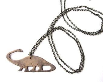 mens dinosaur necklace - apatosaurus - xl long chain / unisex jewelry -  brontosaurus