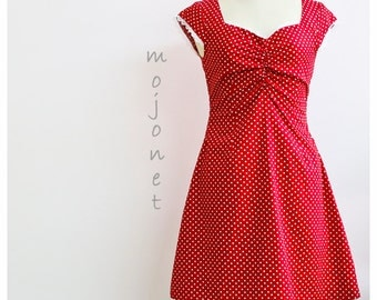 Red Polka Dot Dress, Red Retro Dress, Red Summer Dress, Red Garden Dress, Polka Dot Retro Dress, Gift For Her, Red 70s Dress, Red Sundress