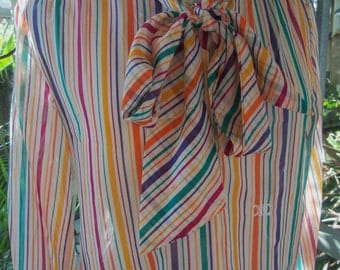 70s CÉLINE--Rainbow Striped Cotton-Voile Top--Logos--Pussy Bow