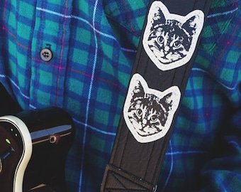 Cat Guitar Strap - Black and White - Vegan - Kitty Approved - Meow