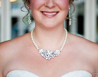 Bridal pearl and crystal necklace Statement Bridal necklace Swarovski pearl necklace Wedding Rhinestone necklace swarovski crystal MADELEINE