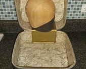 SALE Awesome Vintage Antique Balsa Wood Millinery Hat or Wig Head with Jet Away Black Case