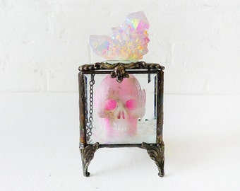 Death Over the Rainbow - Beveled Glass Jewelry Box with Pink Crystal Carved Skull and Magical Aurora Crown Cluster