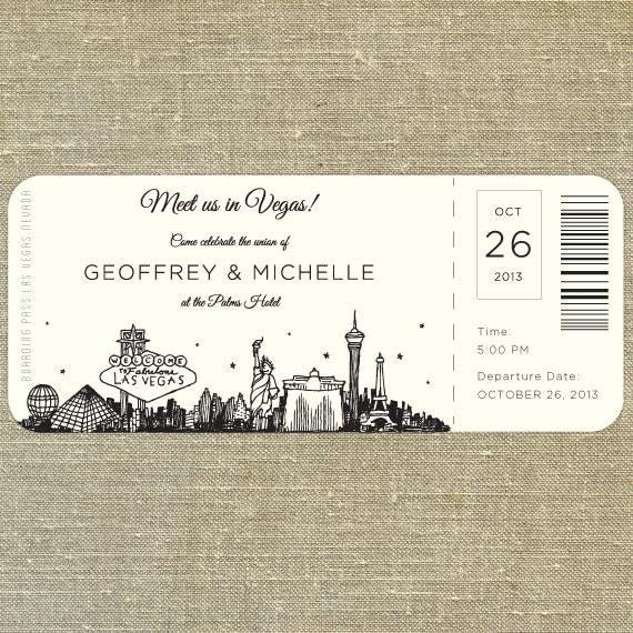 Plane Ticket Wedding Invitations: Las Vegas Skyline Plane Ticket Wedding Invitation By