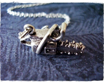 Silver Chainsaw Necklace - Sterling Silver Chainsaw Charm on a Delicate Sterling Silver Cable Chain or Charm Only